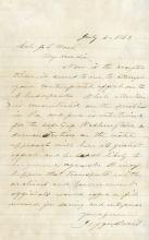 Davis, Jefferson.  Autograph letter signed as President of the Confederate States of America.