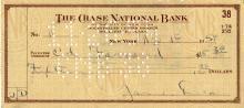 Dean, James.  Bank check signed.
