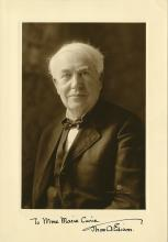 Edison, Thomas A.  Exceptional photograph signed.