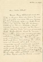 Einstein, Albert.  Autograph letter signed, 25 January 1915.