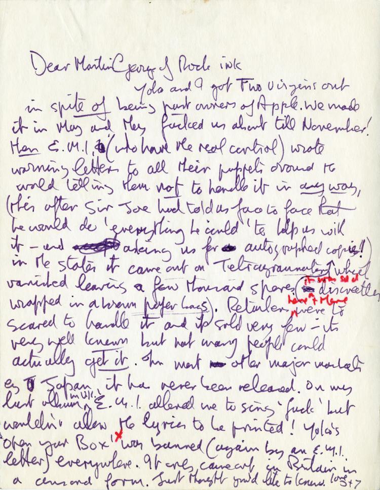 Lennon, John. Autograph letter signed.
