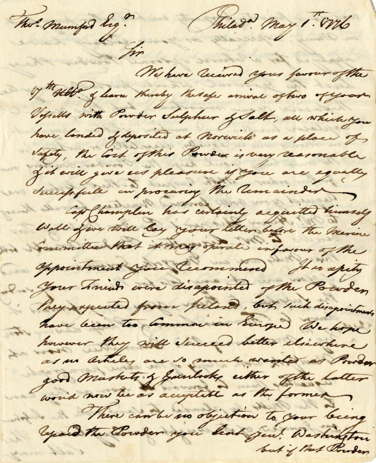Morris, Robert.  Autograph letter signed, 1 May 1776.