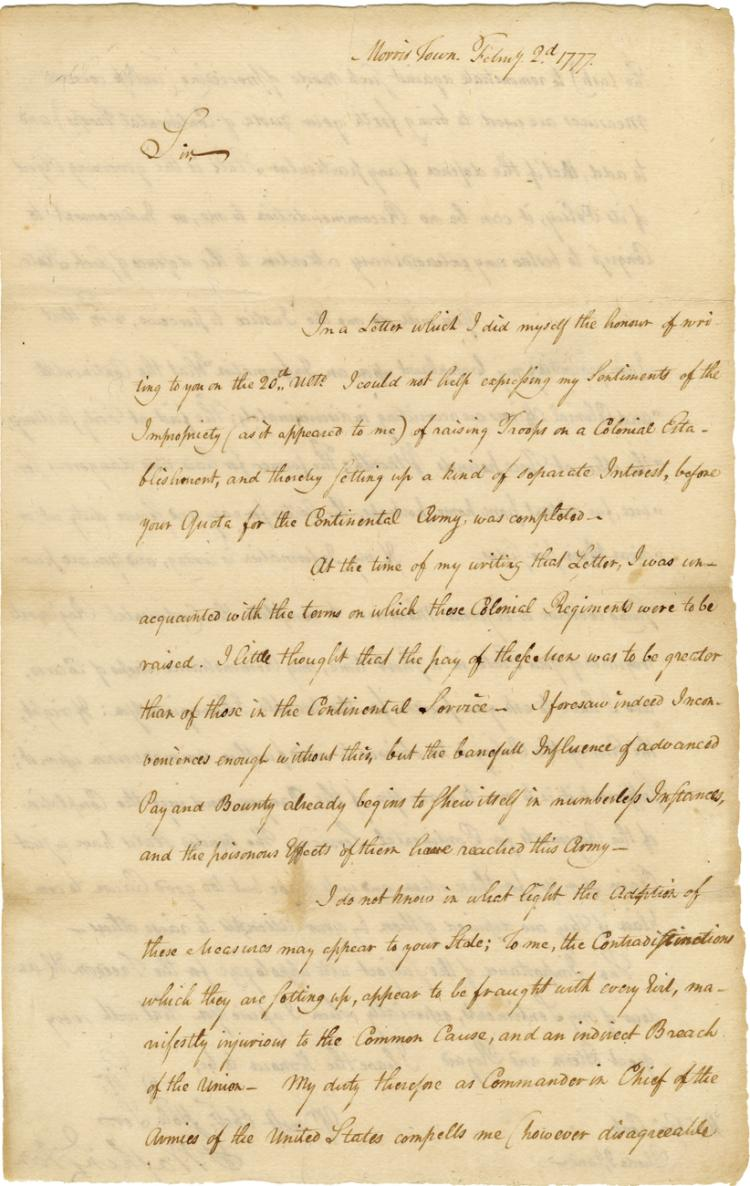 Washington, George.  Letter signed as Commander of the Continental Army, 2 February 1777.