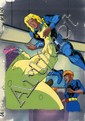 X-Men Original Production cel and pan background featuring
