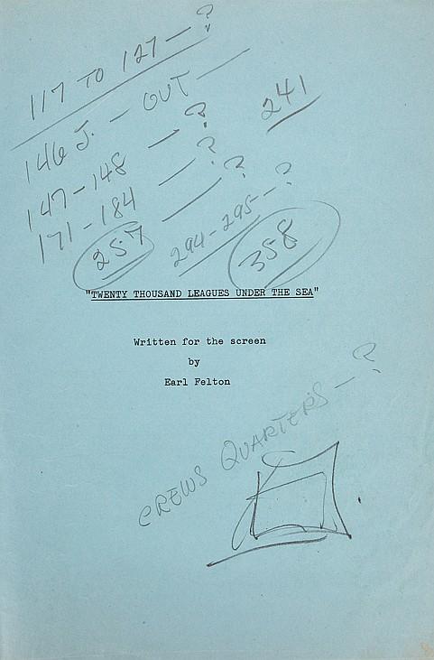Walt Disney's handwritten production script from 20,000 Leag