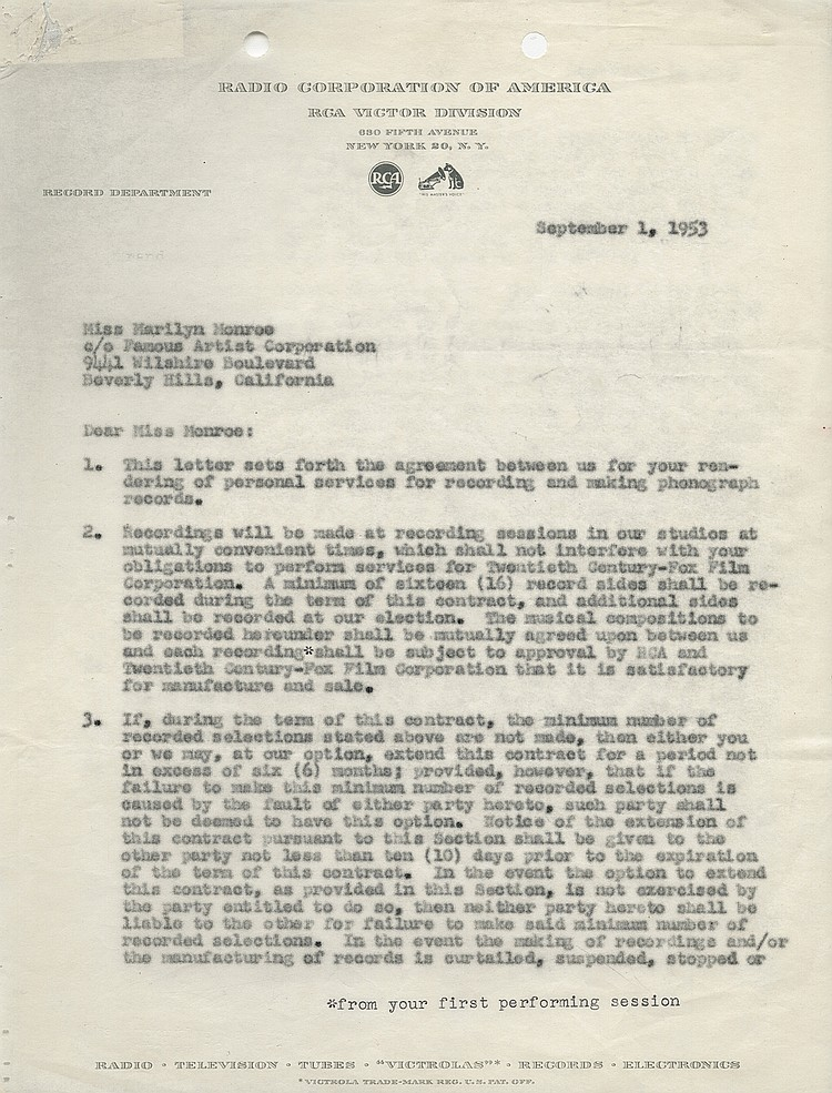 Marilyn Monroe Signed Rca Recording Contract