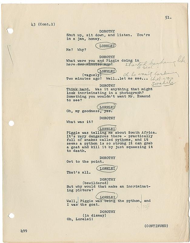 Marilyn Monroe's hand-annotated original script from Gentlemen Prefer Blondes.