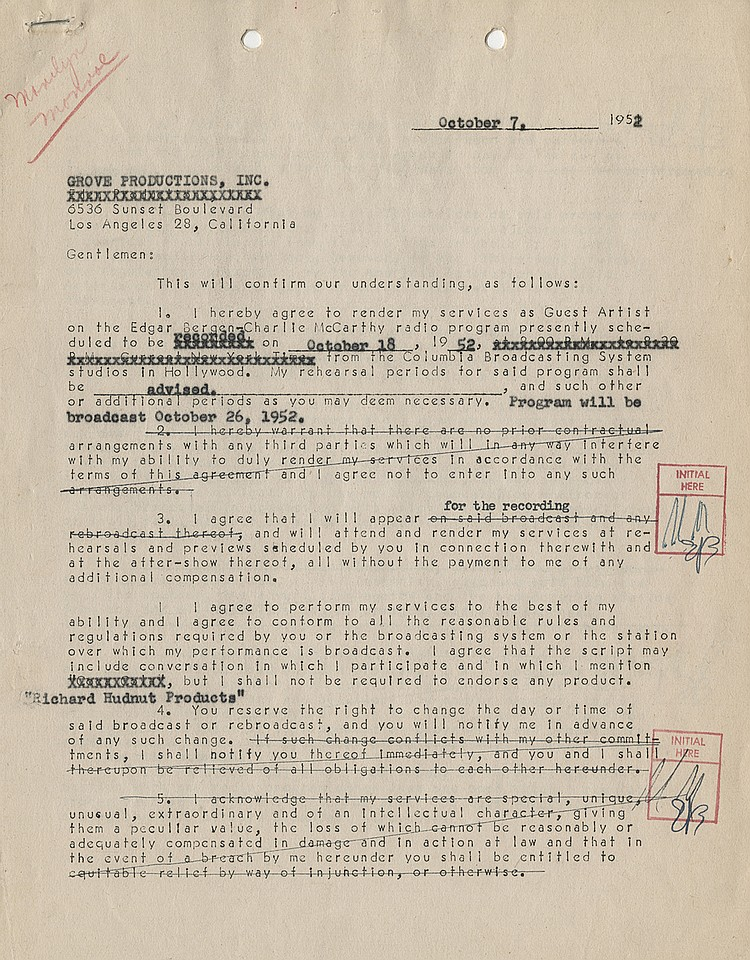 Marilyn signs an early contract for the Charlie McCarthy show with a morality clause.