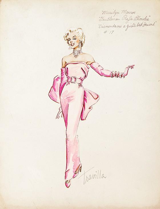 Costume sketch of Marilyn Monroe's pink satin dress in Gentlemen Prefer Blondes.
