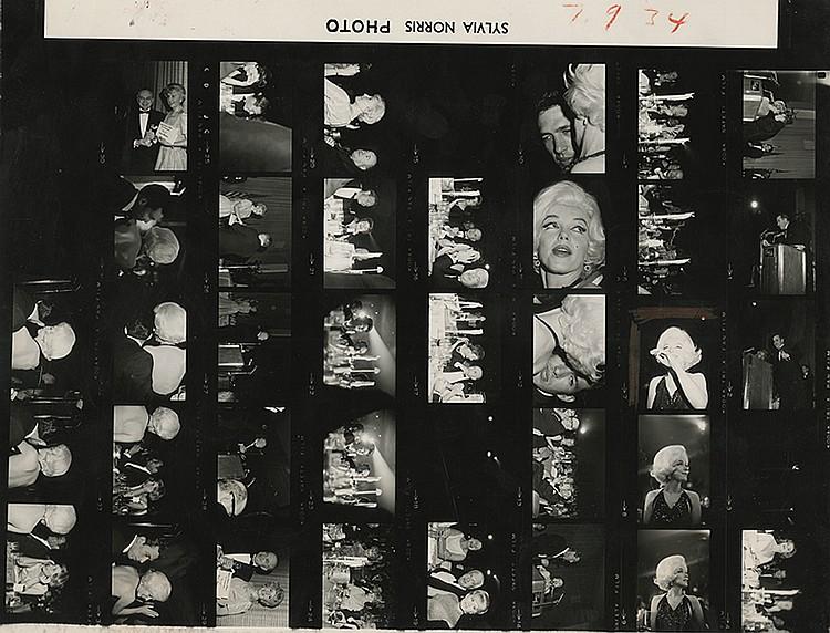 Marilyn Monroe (3) original contact-sheets attending 1962 Golden Globes Awards.