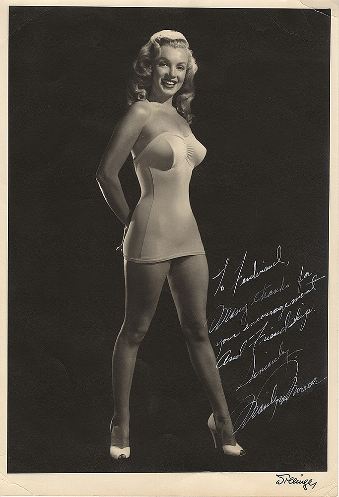 Marilyn Monroe extraordinary early signed and inscribed oversized photograph.