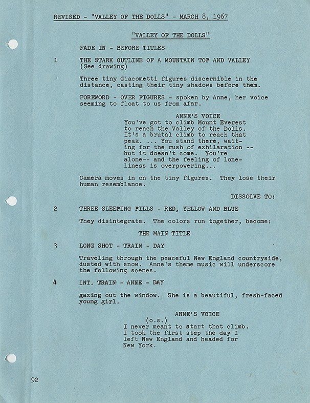 Valley of the Dolls final draft script.