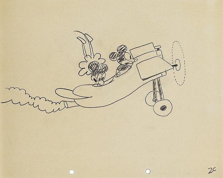 Original Ub Iwerks Production Drawing From Plane Crazy