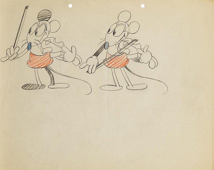 Original Ub Iwerks Production Model Drawing From Fiddlestick