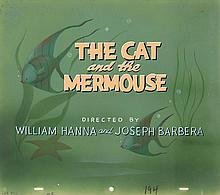 Original opening title cel and original background from The Cat and the Mermouse.