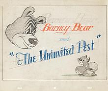 Original production layout drawing from Barney Bear and the Uninvited Guest.