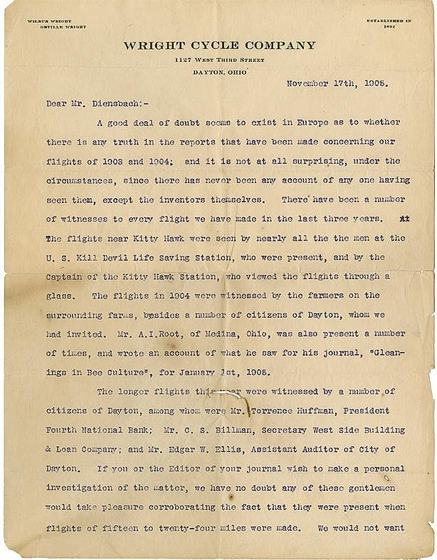 Wright, Orville. Highly important typed letter signed (