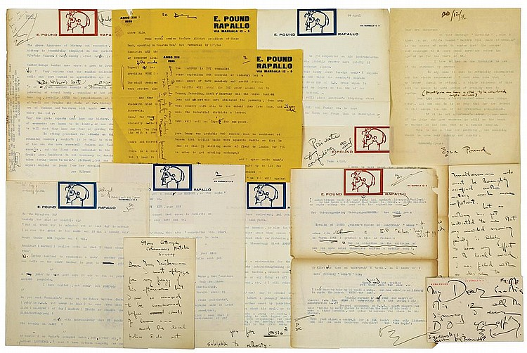 Pound, Ezra. A collection of twelve typed and autograph letters signed.