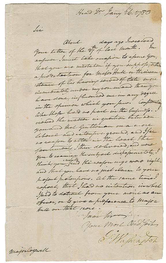 Washington, George. Revolutionary War-Date letter signed as Commander-in­-Chief (