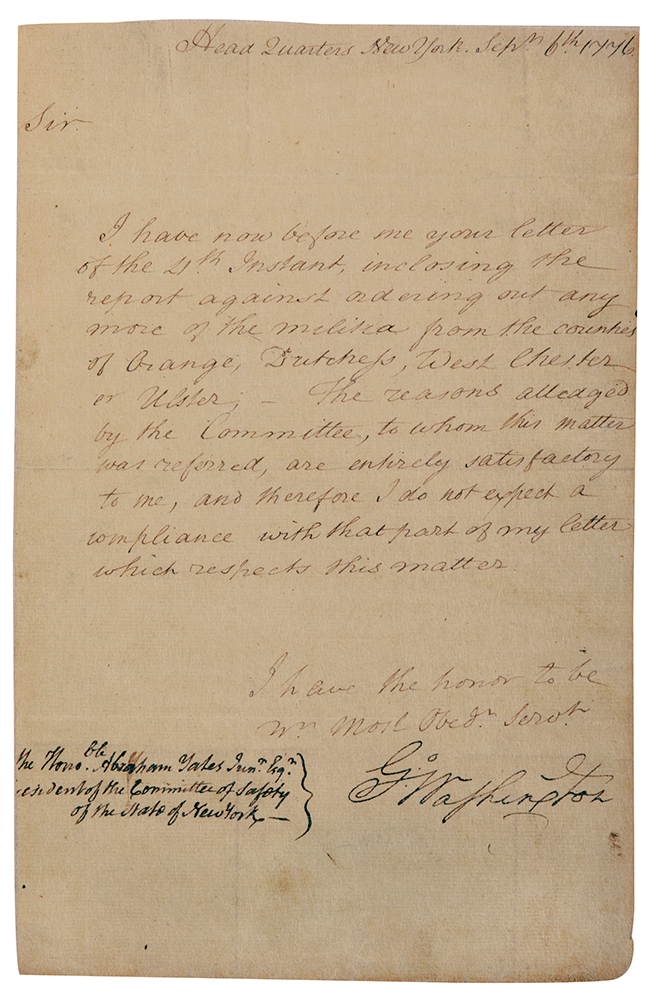 George Washington Letter Signed As Commander Of The Continen