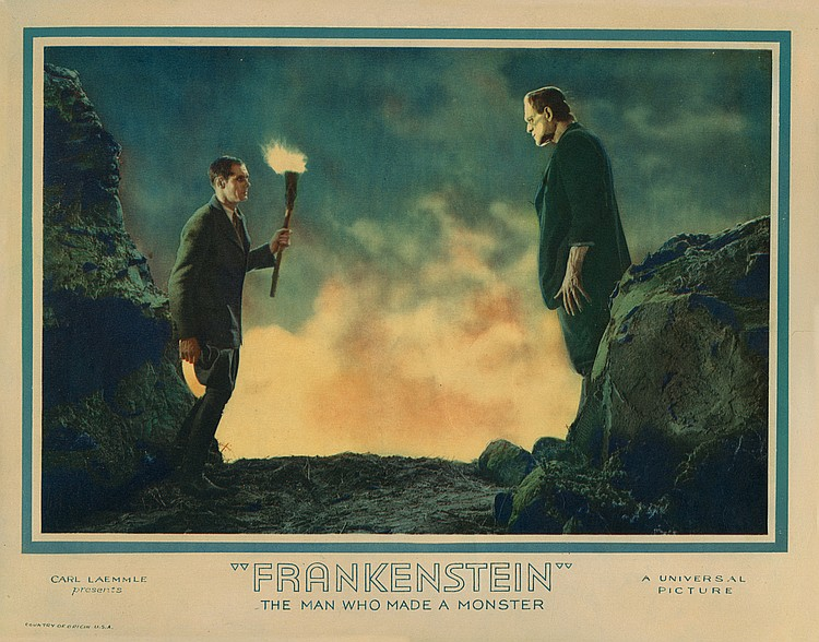 Boris Karloff lobby card for Frankenstein.