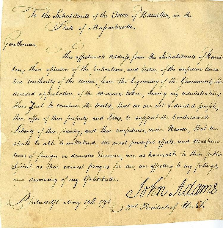 Adams, John. Letter signed (