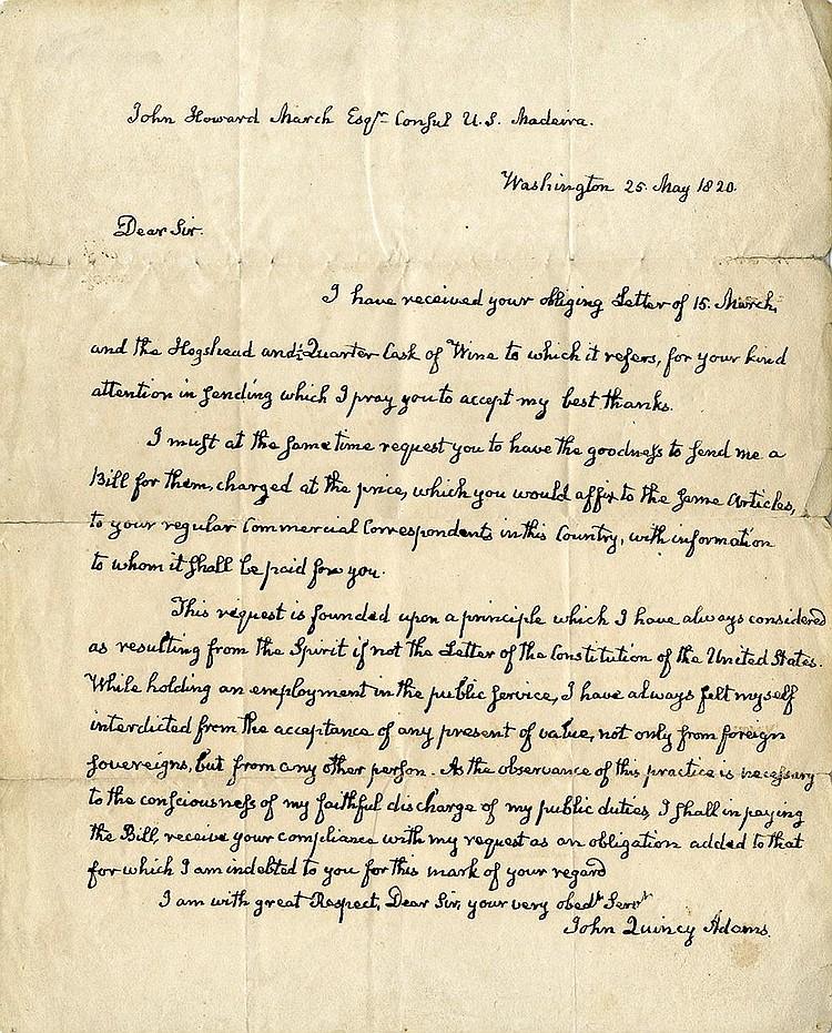 Adams, John Quincy. Autograph letter signed