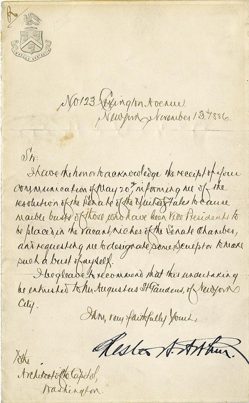 Arthur, Chester A. Letter signed (