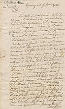 Allen, Ethan. Autograph letter signed (