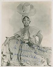 Baker, Josephine. Extraordinary photograph signed (