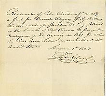 Lewis, Meriwether. Partial autograph document signed (