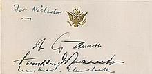 Churchill, Winston. / Franklin D. Roosevelt / Joseph Stalin. White House Card signed by all three.