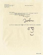 John Lennon signed letter to Bhaskar Menon with hand-drawn self-portrait.