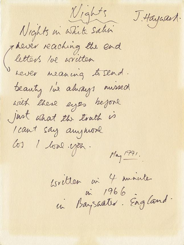 Justin Hayward of The Moody Blues handwritten signed lyrics