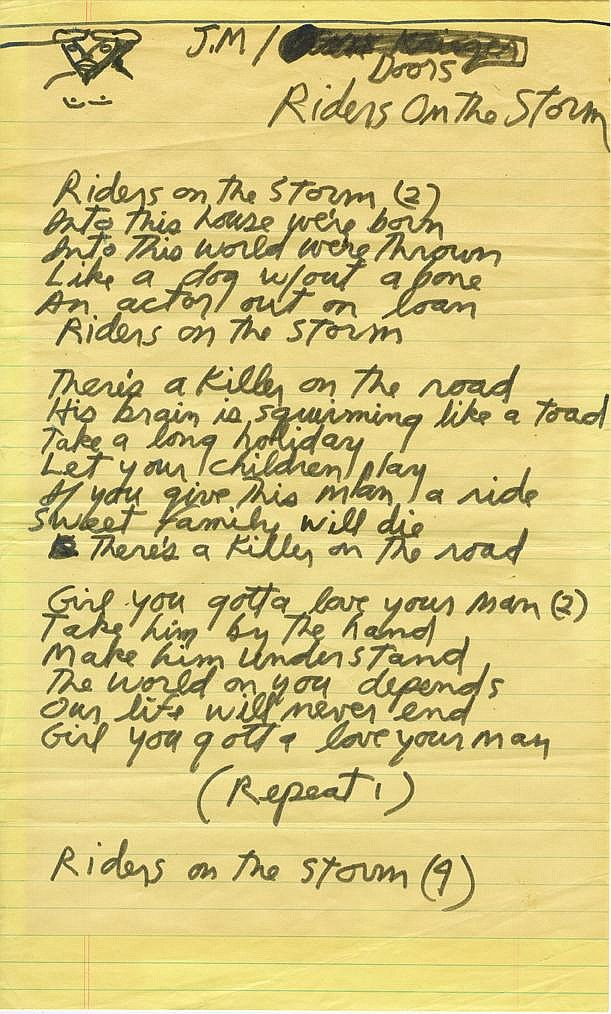 Jim Morrison of The Doors handwritten lyrics for