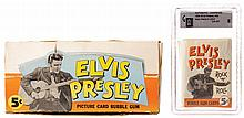 Elvis Presley bubble gum card wax pack with store display box.