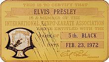 Elvis Presley's metal Kenpo Karate Association card.