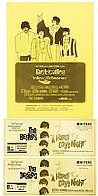 Vintage unused Beatles tickets for A Hard Days Night screening, with Yellow Submarine flyer.