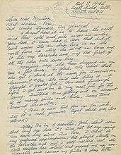 Woody Guthrie handwritten signed letter to Moe Asch of Folkways Records, written while Guthrie was serving in the U.S. military.