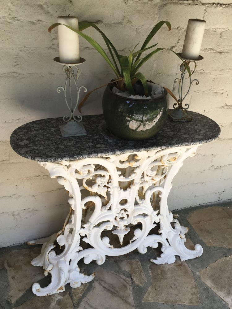 Antique Wrought Iron And Stone Wall Table And Accessories