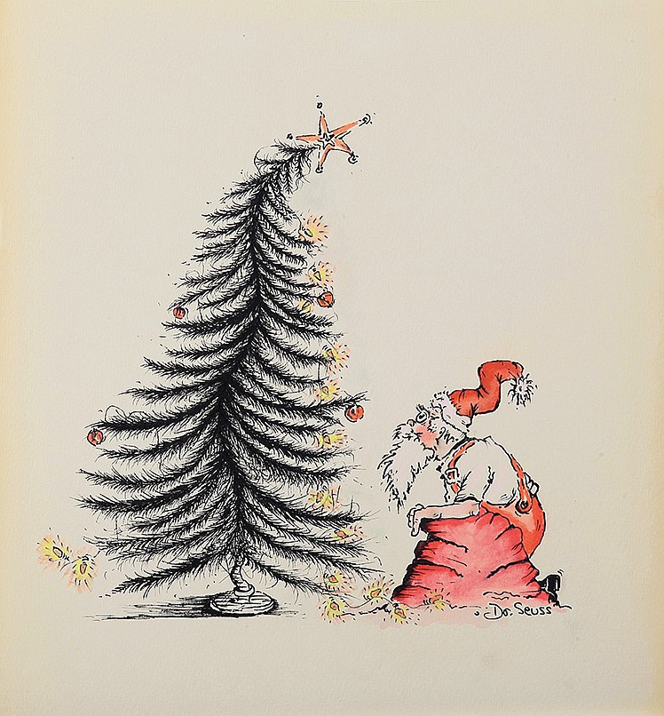 Dr Seuss Christmas.Dr Seuss Drawing Of Santa Claus And A Christmas Tree