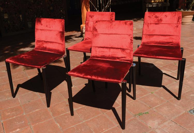 Potocco SpA (4) red velvet dining chairs