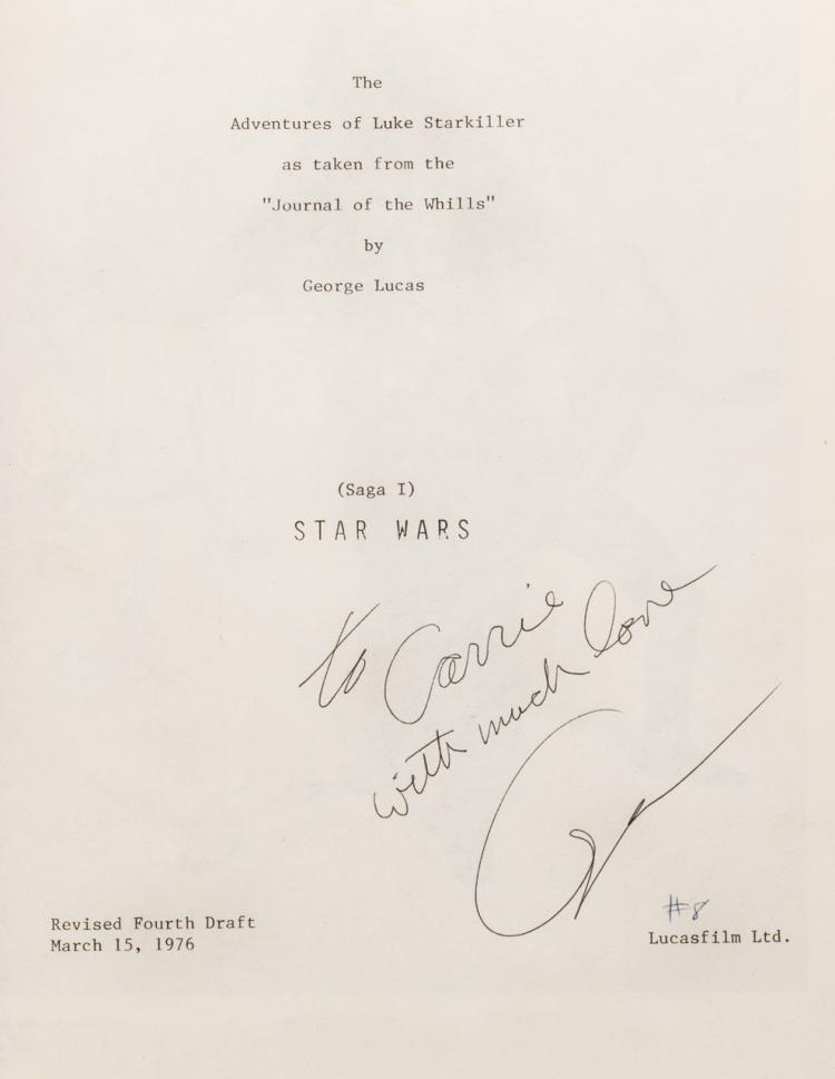 Carrie Fisher Personal Bound Presentation Script For Star Wa
