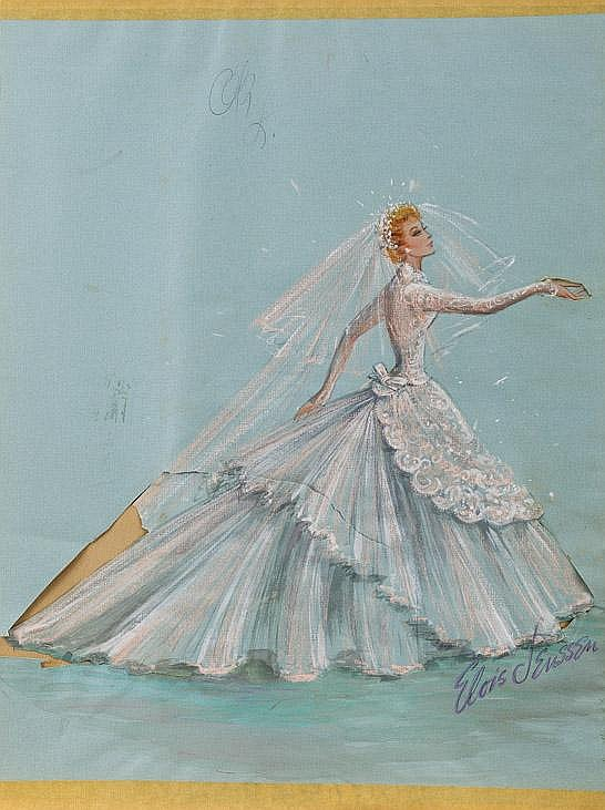 Elois jenssen wedding dress costume sketch for lucille ball for Lucille ball wedding dress