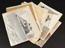 Rick Rack Secret Agent historic collection of (20+) panels and over 50 sketches, acetates and cutouts.