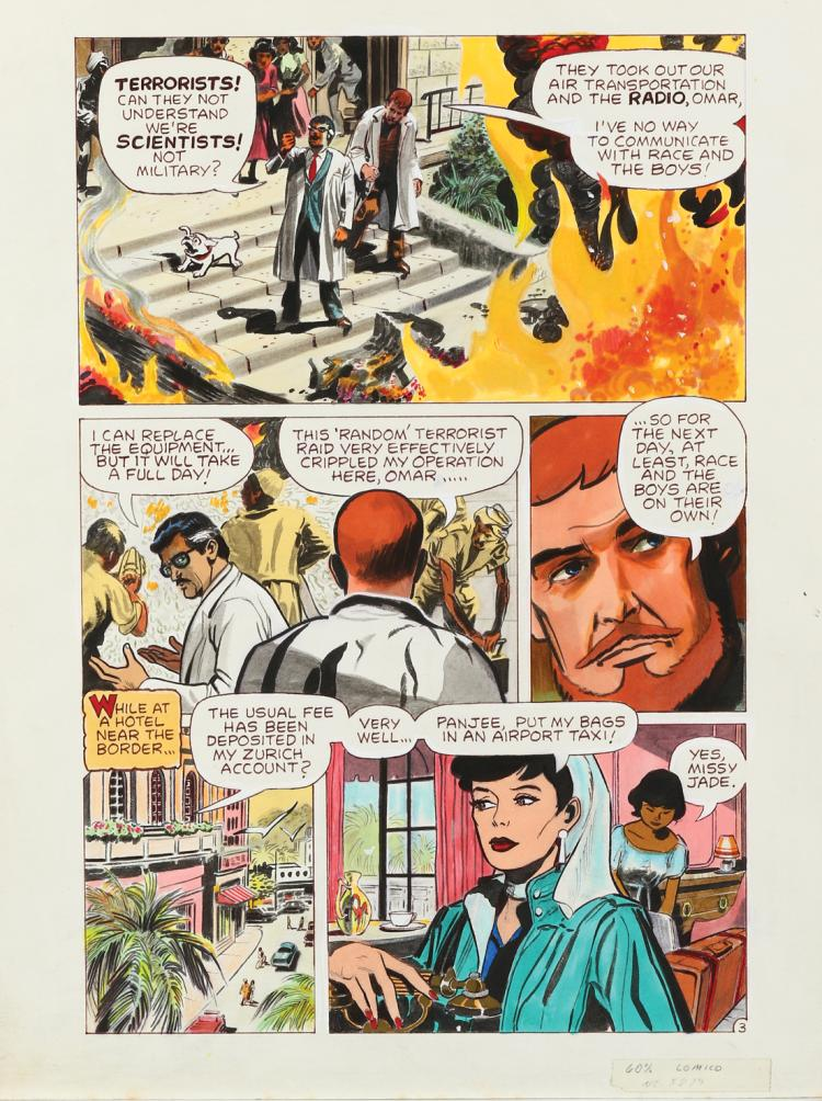 Doug Wildey original comic art page from the Jonny Quest comic book