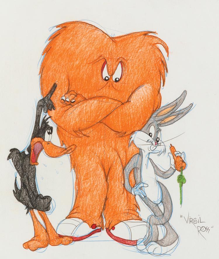 Virgil Ross signed original drawing of