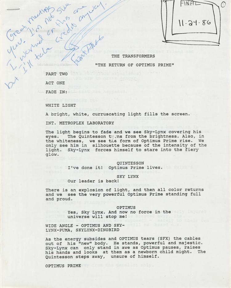 "The Transformers original TV script for episode ""The Return of Optimus Prime""."