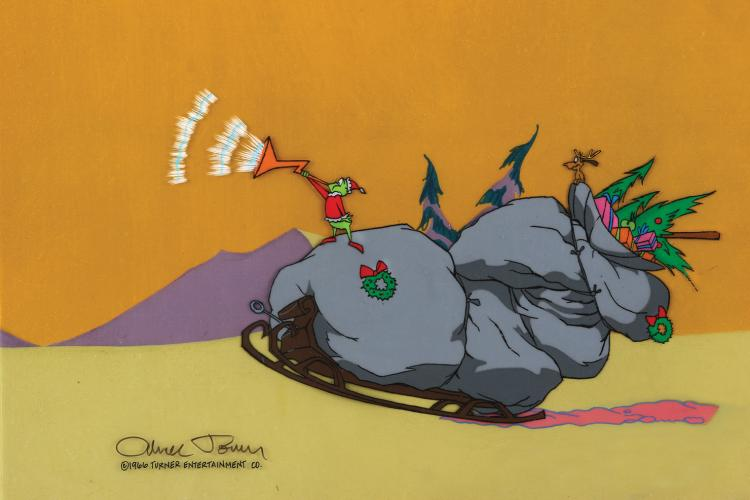 How The Grinch Stole Christmas 1966 Max.Grinch And Max With Sleigh Production Cels And Backgroun