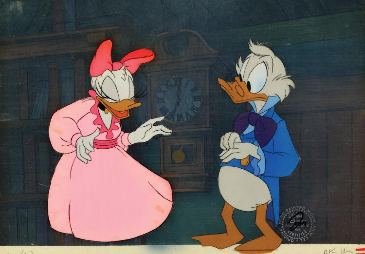 Christmas Carol Scrooge Mcduck.Scrooge Mcduck And Daisy Duck Production Cels And Backgr